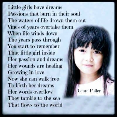 a little girl with a poem written to the photo of Walk Free To Birth Your Dreams.