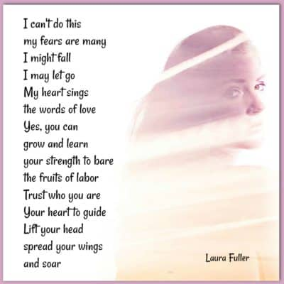 a girl looking back with a white scarf on with poem Will you fly from fear to power