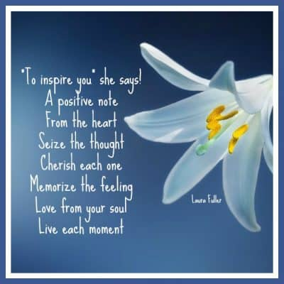 lilly on blue with poem inspiration