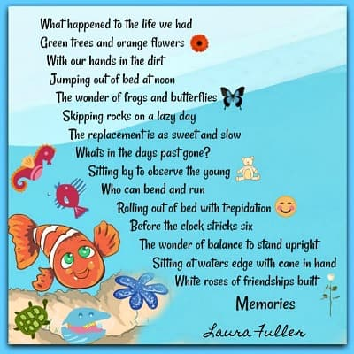 poem memories by laura blue water background with fish
