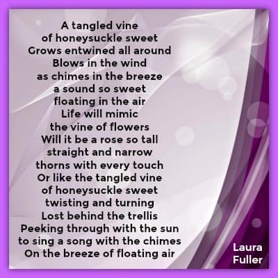 same poem tangled vine of honeysuckle sweet on purple background