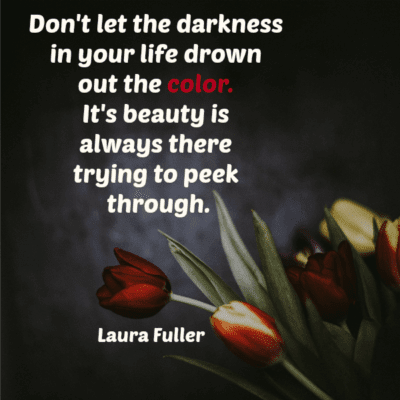 quote by laura black background with red tulip