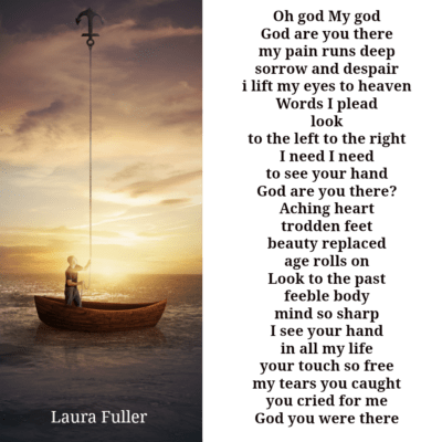 man in a boat with an anchor up to heaven. God are you there poem.