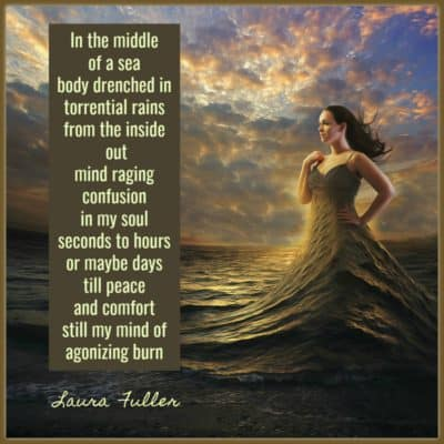 A woman wears the ocean as a dress. finding peace in the midst of a storm