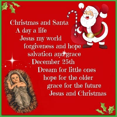 red background with jesus and santa