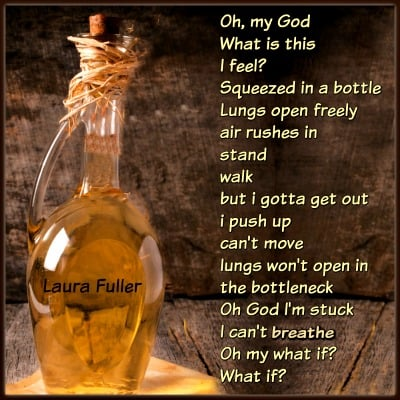 a bottle with yellow liquid in it with a poem written on it about the lessons learned from life-stuck in a bottle