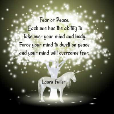 fear or peace quote laura on bright light tree with horse
