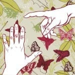 abstract hands and butterflies
