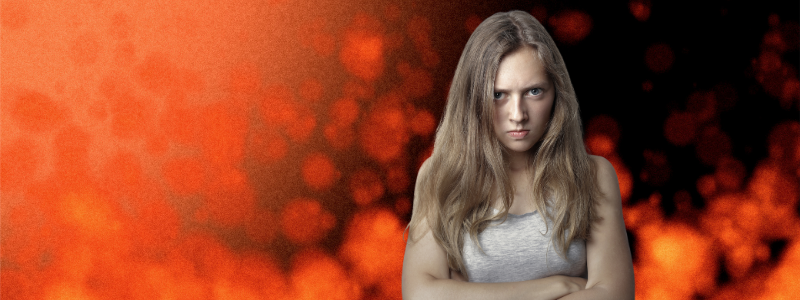 angry girl on orange fire