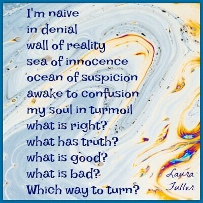 poem naive on blue abstract background