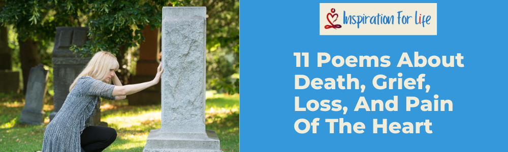 11 Poems About Death, Grief, Loss, And Pain Of The Heart feature image, girl at grave stone
