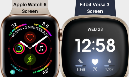apple watch and fitbit screen